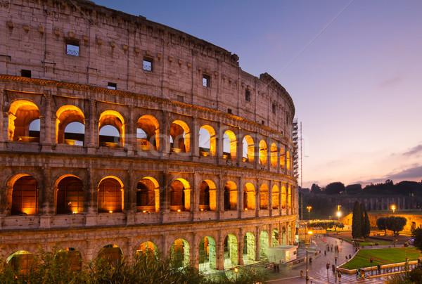 Colosseum Rome Italië verlicht nacht Stockfoto © neirfy