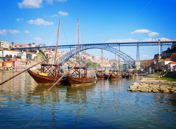 traditional port wine boats, Porto,  Portugal Stock photo © neirfy