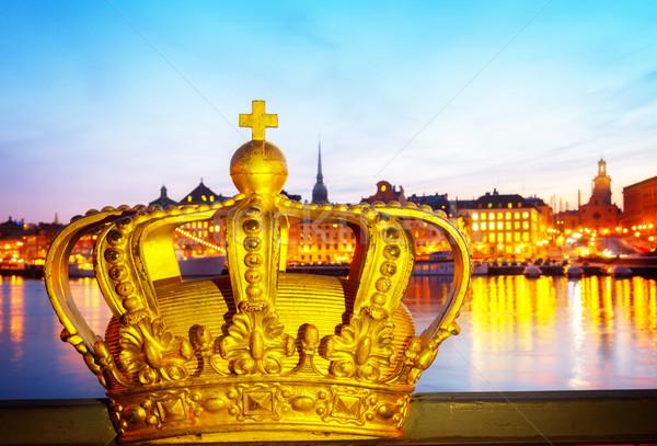 Kraliyet taç Stockholm Cityscape gece İsveç Stok fotoğraf © neirfy