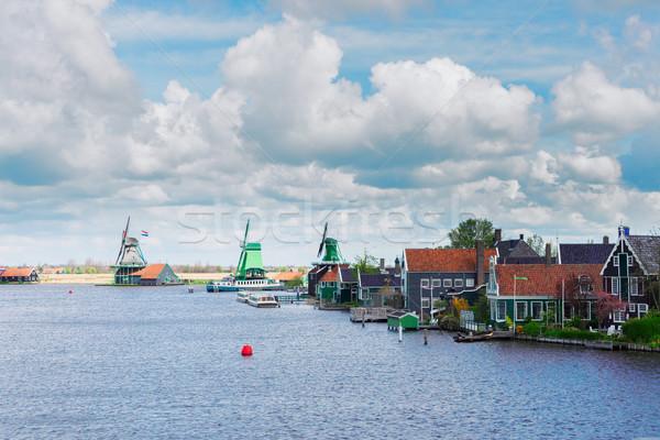 ストックフォト: オランダ語 · 風 · 伝統的な · 風光明媚な · パノラマ · 川