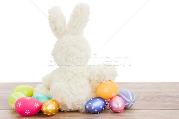 white fluffy easter bunny with eggs Stock photo © neirfy