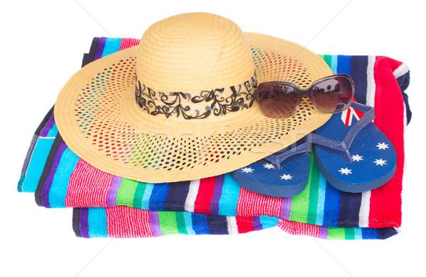 Sombrero de paja toalla de playa aislado blanco moda sol Foto stock © neirfy