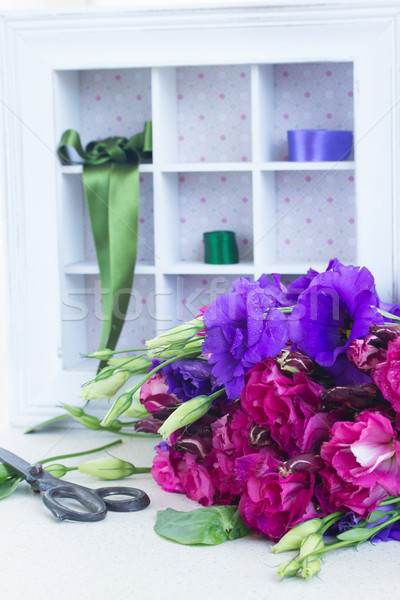 bunch of  purple and mauve  eustoma flowers Stock photo © neirfy