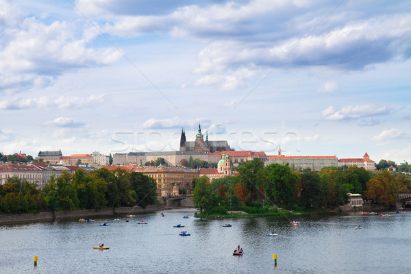 embankment of Vltava  with Vitus cathedral, Prague Stock photo © neirfy