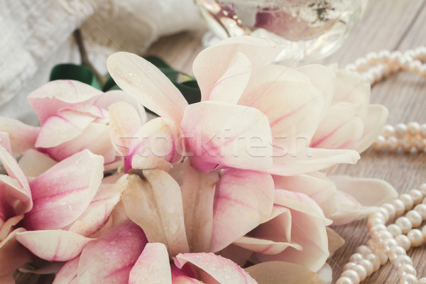 magnolia flowers with pearls Stock photo © neirfy