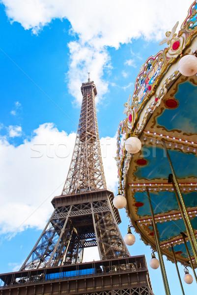 Carrousel Eiffeltoren Parijs vintage Frankrijk retro Stockfoto © neirfy