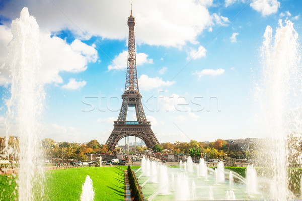 Eiffel Tower and fountains of Trocadero Stock photo © neirfy