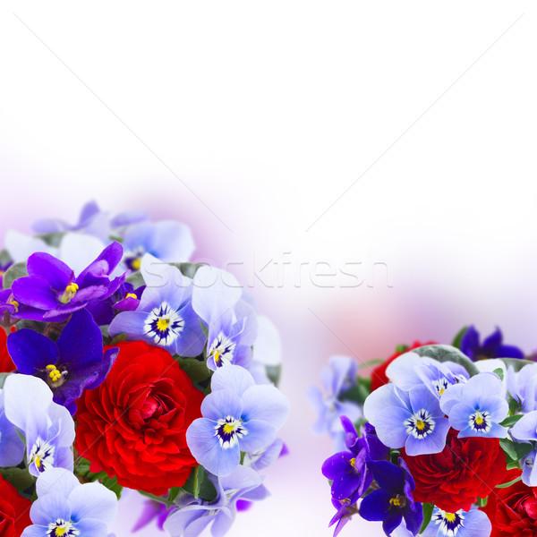Fleurs amour fond été bleu rouge Photo stock © neirfy
