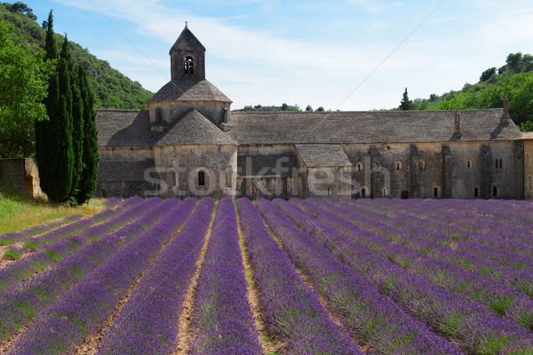 Stockfoto: Abdij · lavendel · veld · Frankrijk · gebouw · hemel