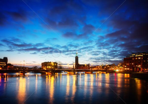 Estocolmo Suécia linha do horizonte cidade ouvir noite Foto stock © neirfy