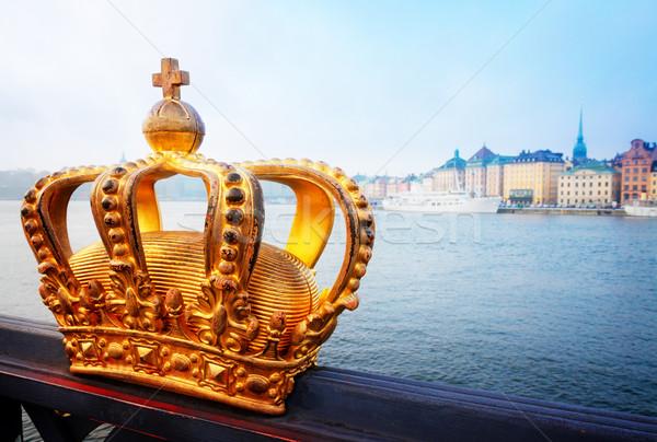 Królewski korony Sztokholm Cityscape rano Szwecja Zdjęcia stock © neirfy