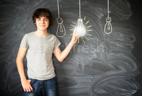 Stockfoto: Tiener · jongen · idee · rij · terug · naar · school