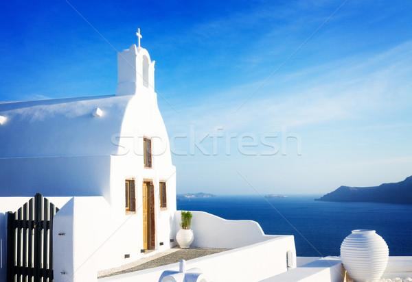 Belo detalhes santorini ilha típico casa Foto stock © neirfy