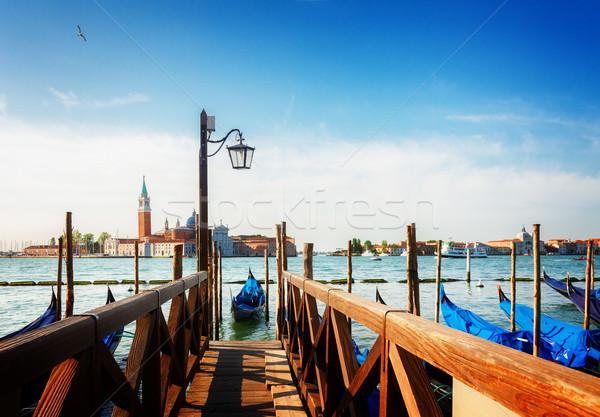пирс канал Венеция Италия ретро здании Сток-фото © neirfy
