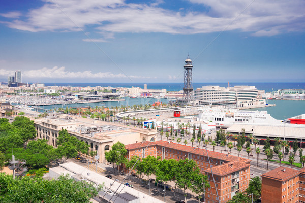Cityscape of Barcelona with port Vell, Spain Stock photo © neirfy
