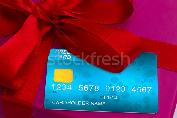credit cards on gift box Stock photo © neirfy