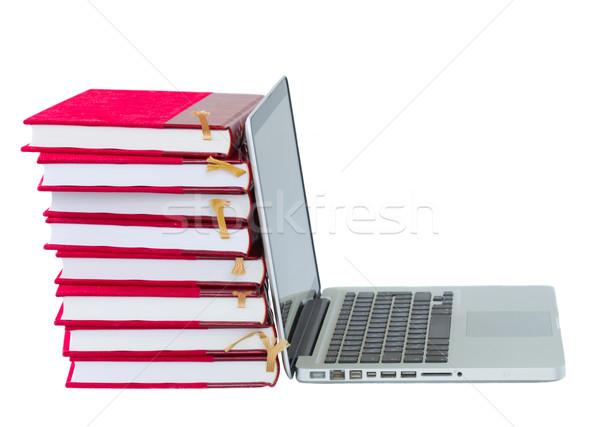 книгах ноутбука современных библиотека изолированный белый Сток-фото © neirfy