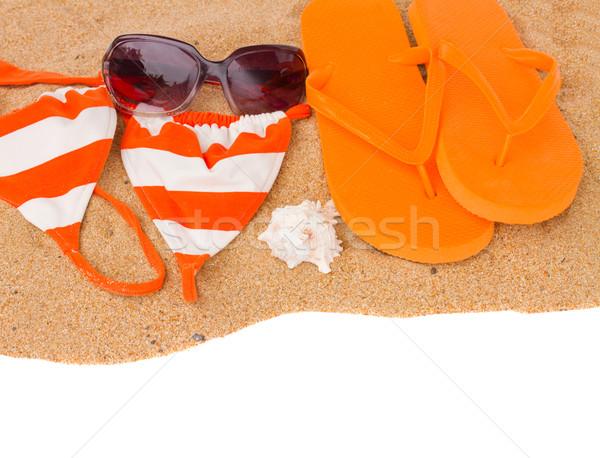 オレンジ サンダル スイミング 砂 孤立した 白 ストックフォト © neirfy