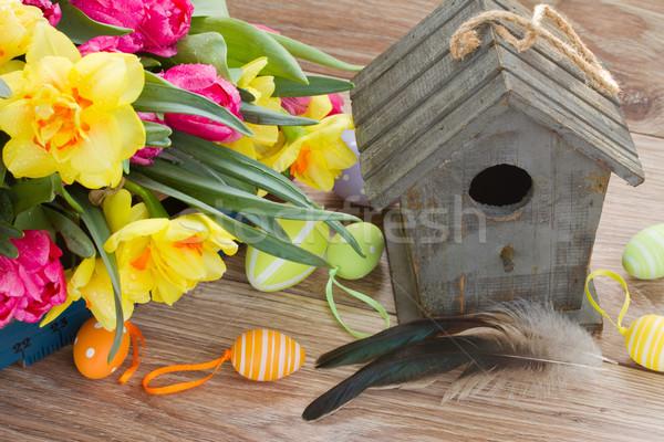 birdcage with spring flowers Stock photo © neirfy