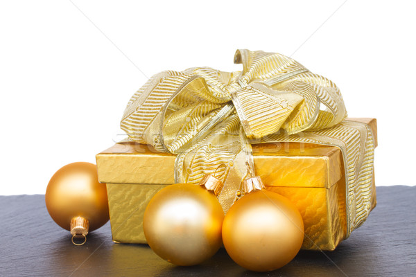 golden  gift box with christmas decorations Stock photo © neirfy