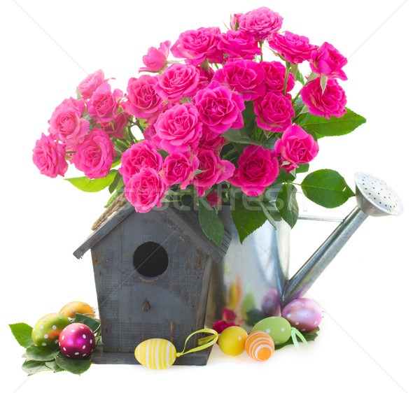pink rose  flowers with birdcage Stock photo © neirfy