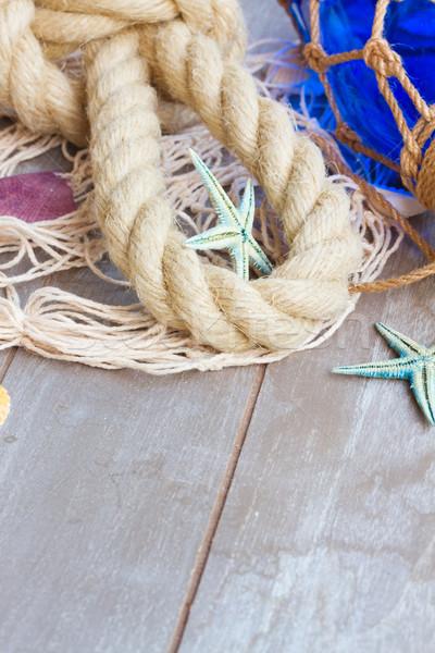 漁網 木製 海洋 ロープ コピースペース 海 ストックフォト © neirfy
