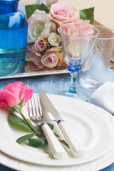 Tafelgerei ingesteld valentijnsdag platen steeg Stockfoto © neirfy
