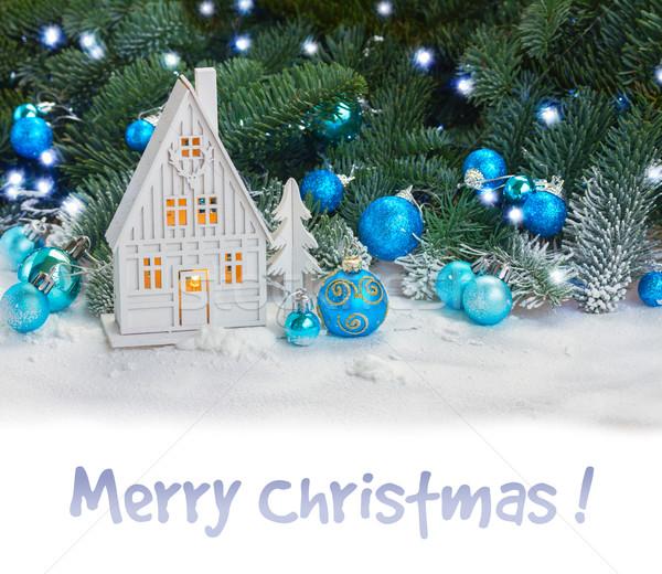 Biały christmas domu niebieski dekoracje śniegu Zdjęcia stock © neirfy