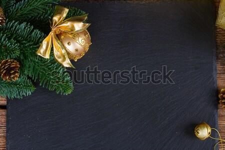evergreen tree with golden ball Stock photo © neirfy