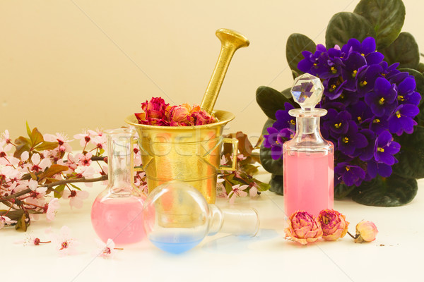 Stock photo: aromatherapy - dry flowers and potions