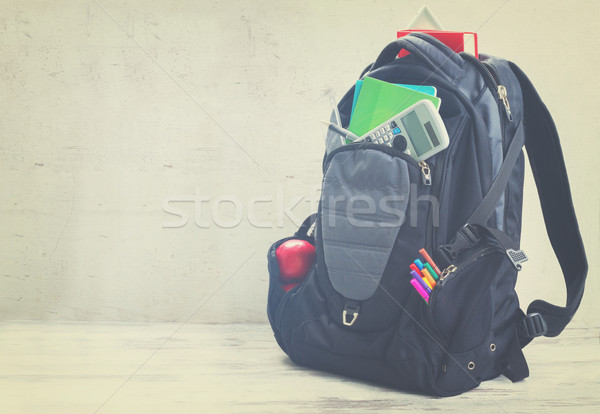 School backpack with supplies Stock photo © neirfy