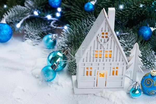 Zdjęcia stock: Biały · christmas · domu · niebieski · dekoracje