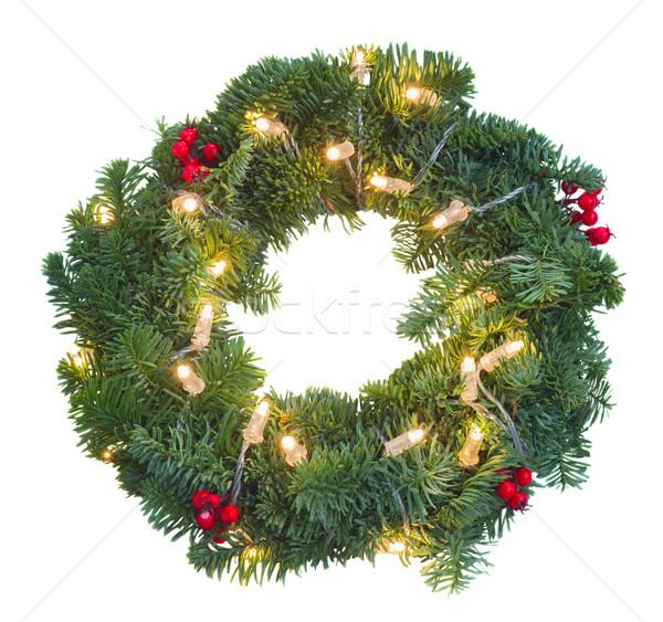 Christmas glowing wreath Stock photo © neirfy