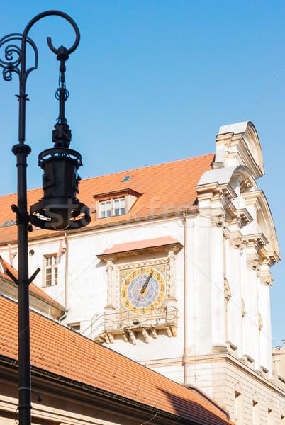 Médiévale maisons Pologne vieux mosaïque horloge Photo stock © neirfy