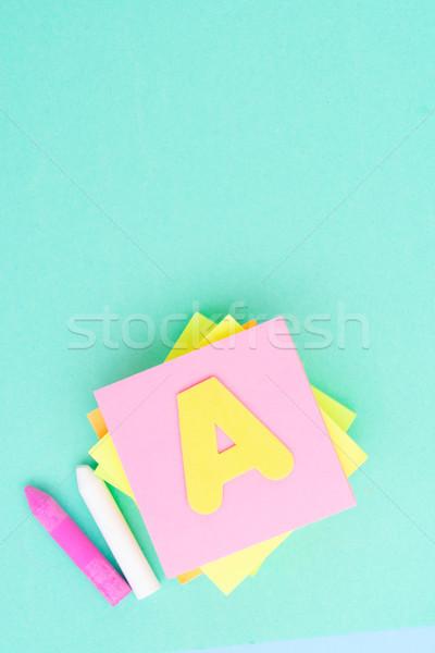Okula geri okul malzemeleri mavi bo ofis kâğıt Stok fotoğraf © neirfy