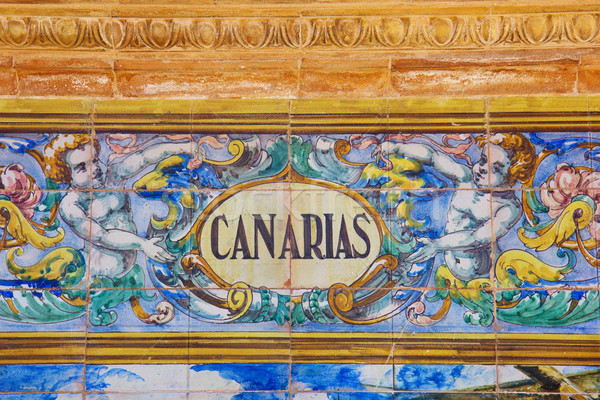 Canarias sign over a mosaic wall Stock photo © neirfy