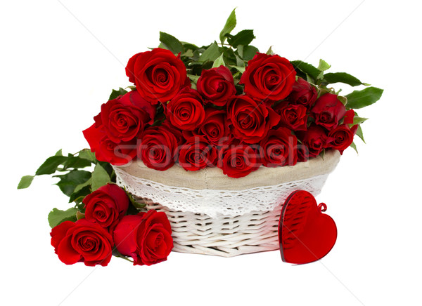 red roses in basket Stock photo © neirfy