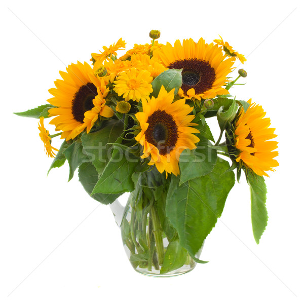 sunflowers  and marigold flowers in vase Stock photo © neirfy