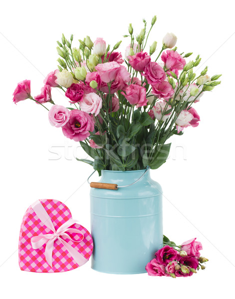 Pink eustoma flowers with pink heart  box Stock photo © neirfy