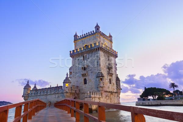 Lisboa Portugal puesta de sol mojón cielo agua Foto stock © neirfy