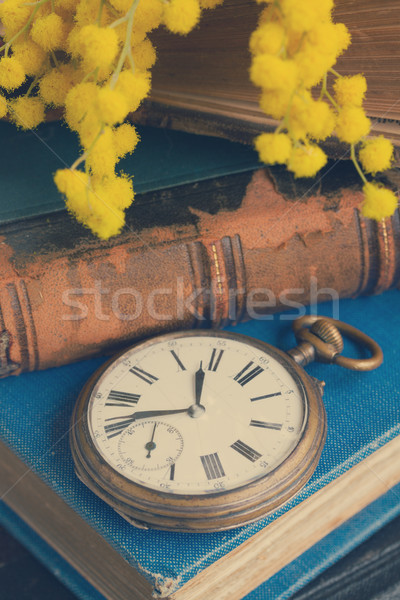 pile of old books with pocket watch  Stock photo © neirfy