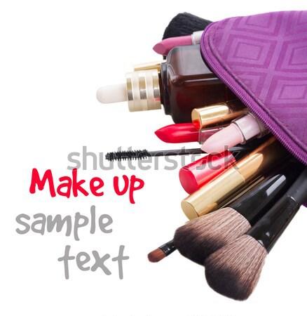 Foto stock: Saco · compensar · produtos · isolado · branco