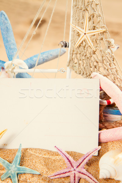 Vide carte postale starfish papier carte cadre Photo stock © neirfy