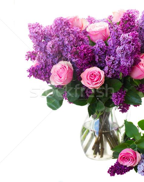 Orgona virágok köteg lila rózsaszín rózsák Stock fotó © neirfy