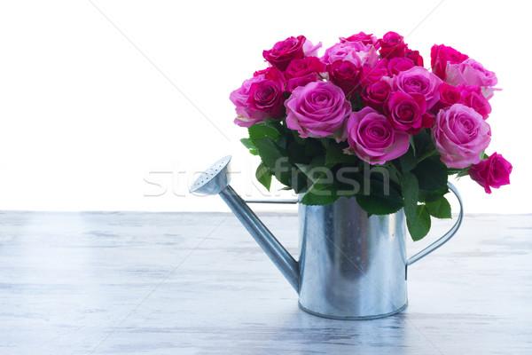 Foto stock: Buquê · fresco · rosa · rosas · magenta · regador