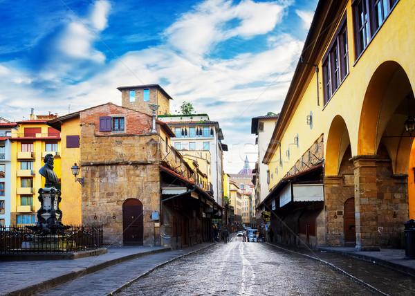 Floransa ünlü köprü sokak Retro sanat Stok fotoğraf © neirfy