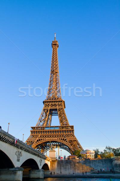 Eiffel turné Franciaország folyó Párizs égbolt Stock fotó © neirfy