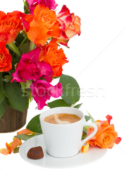 cup of coffee with roses Stock photo © neirfy