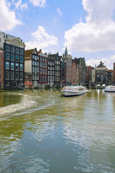 Middeleeuwse huizen kanaal water Amsterdam schepen Stockfoto © neirfy