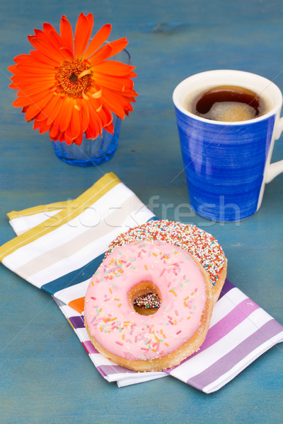 breakfast with black coffee and two donuts Stock photo © neirfy
